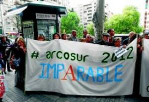 Vecinos de Arcosur, durante una protesta reivindicativa.